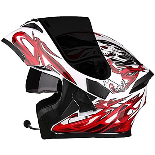 Bluetooth Integrado Casco de Moto Modular,con Micrófono Incorporado Anti Niebla Visera Doble ECE Homologado Adultos Hombres Mujeres Cascos Moto F,L58~59cm