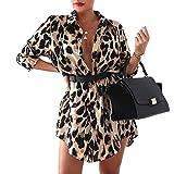 Vestido Elegante para Mujer Manga Larga Estampado Leopardo Camisa Larga Forma Vestido Estilo Casual Vestido Blusa con Cinturón (Leo Caqui, M)