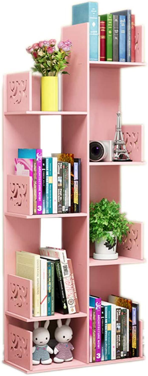 CL Creative Simple Floor-Standing Tree-Shaped Bookshelf Shelf Rack 48 X 20 X 120cm (Three colors Optional) Bookshelf (color   Pink)