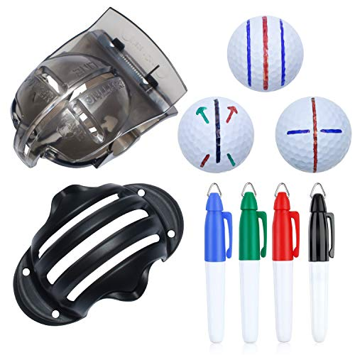 CUALFEC 6 Pack Golf Ball Line Drawing Marker Golf Ball Liner Golf Ball Marking Tool Kit - 2 Golf Ball Marking Stencils and 4 Color Markers