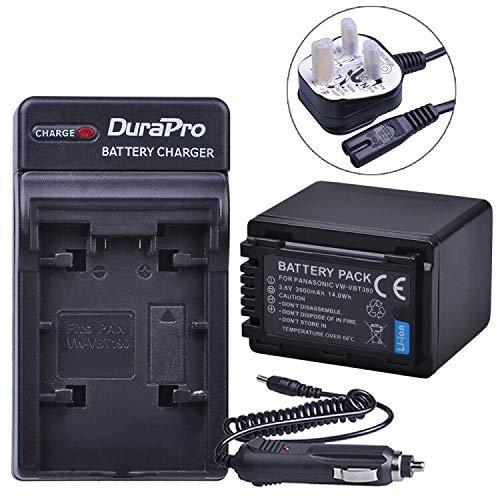 DuraPro 1Pc 3900mAh VW-VBT380 VBT380 VW-VBT190 VBT190 Battery + AC Wall/Car Charger for Panasonic HC-V110, HC-V130, HC-V160, HC-V180, HC-V201, HC-V250,HC-V260,V720 V750 V770 V777 VX870 VX980 VX989