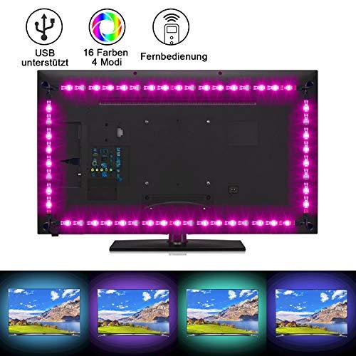 Sunnest LED Strip 2M TV LED Hintergrundbeleuchtung USB led strips (4X50cm) RGB LED Streifen Lichtband Fernseher Beleuchtung mit Fernbedienung LED Backlight für HDTV, PC-Monitor, Spiegel usw.