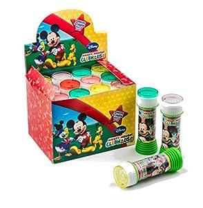 SUPERBOOM - Caja Pomperos de Burbujas de Jabón de Mickey Mouse - 12 Unidades de 60 ml