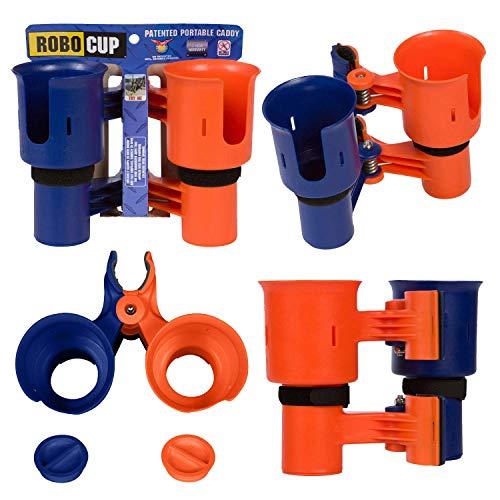 RoboCup, Orange & Navy, verbesserte Version, Bester Getränkehalter für Getränke, Angelrute/Angelrute, Boot, Strandkorb/Golfwagen/Rollstuhl/Rollstuhl/Geher.