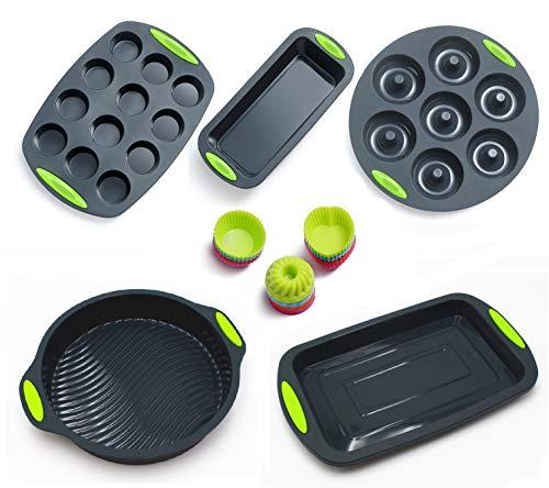41pcs Silicone Bakeware Set, Nonstick Muffin Pan, Toast Pan, Tiramisu Dishes, Donuts Pans, Round Cake Pan, 36 Silicone Cake Molds(Gray)