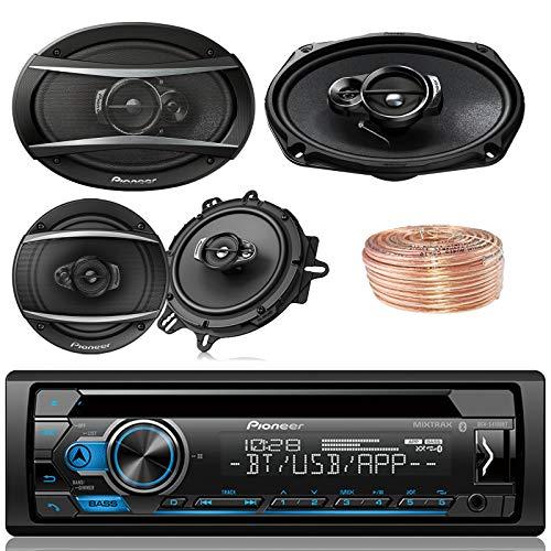 Pioneer DEH-S4100BT Car Bluetooth Radio USB AUX CD Player Receiver - Bundle with 2X TSA1670F 6.5' 3-Way Speakers - 2 x TS-A6960F 6'x9' 3-Way Speakers + Enrock 50Ft 18 Gauge Speaker Wire