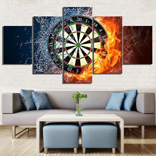 ZZHPlanet Anhänger Leinwandbilder Wandkunst Gedruckt Malerei 5 Panel EIS und Feuer Dartscheibe Poster Modulare Wohnzimmer Rahmen Dekoration