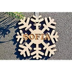 Weihnachtskugel mit Namen in Wunschfarbe– Schneeflocke – Christbaumkugel Christbaumschmuck Weihnachtsbaumkugel