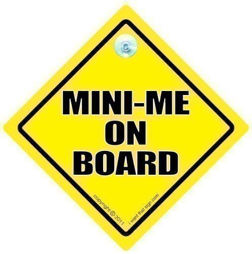 Mini Me voiture Panneau, mini Me sur planche, mini Pot on Board, Bébé à Bord, Autocollant, Baby on Board Sign, enfant sur panneau, signe pour voiture, pare-chocs, autocollant humoristique pour voiture