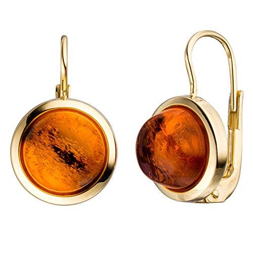 JOBO Damen-Ohrhänger aus 333 Gold mit Bernstein Rund