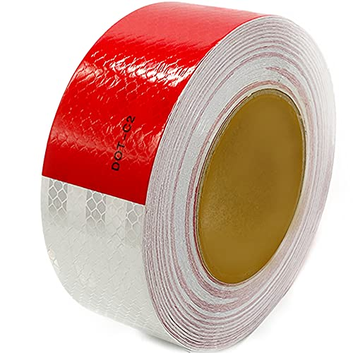 JUNEVEN Dot-C2 Red/White Reflective Safety Tape,Conspicuity Tape,2 Inch x 82 Ft - for Vehicles,Trailers,Boats,Signs