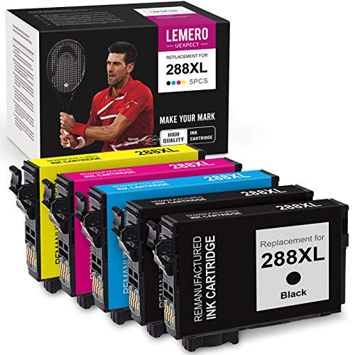 LemeroUexpect Remanufactured Ink Cartridge Replacement for Epson 288 XL 288XL T288XL for Expression Home XP-440 XP-446 XP-430 XP-340 XP-330 Printer (2 Black, 1 Cyan, 1 Magenta, 1 Yellow, 5-Pack)