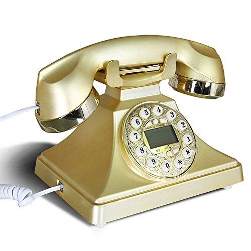 MKJYDM Vintage teléfono casa de la Oficina Europea Antiguo teléfono Fijo con Metal Manos Libres girando teléfono Retro Estadounidense Teléfono (Color : Gold)