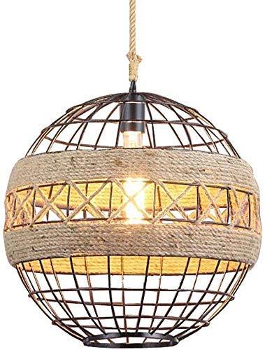Candelabro Ganeed Luces colgantes industriales Islas de cocina vintage Lámpara colgante Lámpara de techo Jaula de cuerda de cáñamo y metal Candelabro minimalista moderno