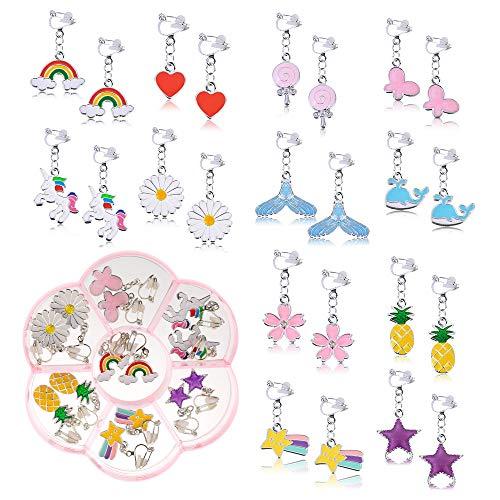 Souarts Pendientes de clip para niña, sin agujeros, para niños, diseño de princesa, cumpleaños, regalo, en cajas de flores (plata, 12 pares)