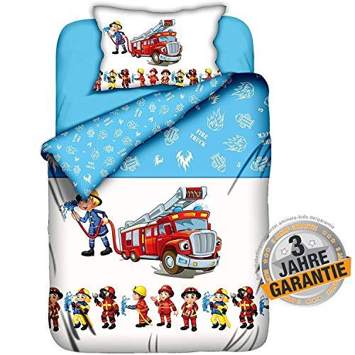 Aminata Kids Kinderbettwäsche 100-x-135 Junge Baumwolle Feuerwehr-Mann-Motiv Baby-Kinder-Bettwäsche-Set Auto-Motiv, hell-blau, weiß & rot mit Reißverschluss - Bettbezug für Baby-Kinder-Bett, Polizei