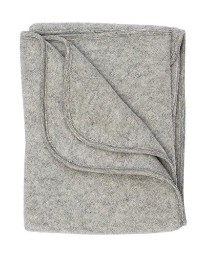 Engel Baby Decke Wollfleece, 80 x 100cm, hellgrau Melange