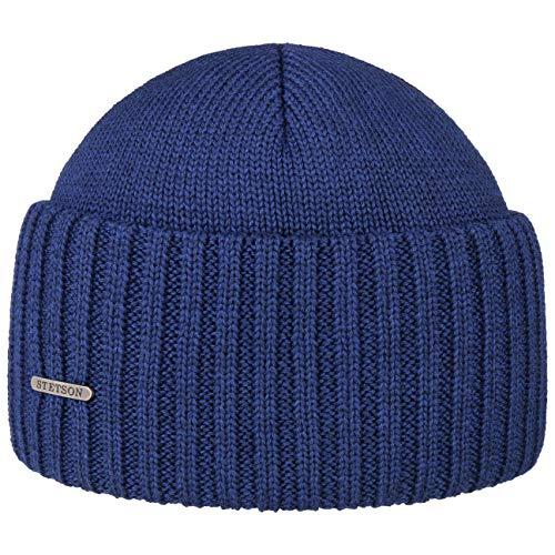 Stetson Northport Wintermütze aus Merinowolle - Mütze Made in Italy - Seemannsmütze für Damen/Herren - Wollmütze Herbst/Winter - Merinomütze blau One Size