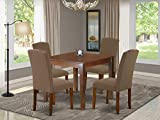 5Pc Square 36 Inch Table And Four Parson Chair With...