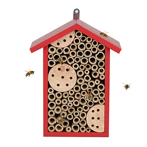 Topadorn Insect Habitat Wall Mounted Bee House Natural Bamboo Tube Bee Hotel with Metal Hanging for Outdoor Garden or Yard Bee House Attracts Many Types of Bees,Red