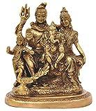 Pink-Lotus Brass Lord Shiva, Parvati and Ganesha Shiv Family/Shiva Parivar Idol Statue 6 Inches Height
