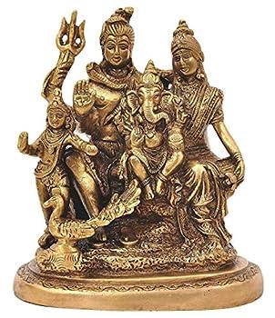 Pink-Lotus Brass Lord Shiva Parvati and Ganesha Shiv Family/Shiva Parivar Idol Statue 6 Inches Height