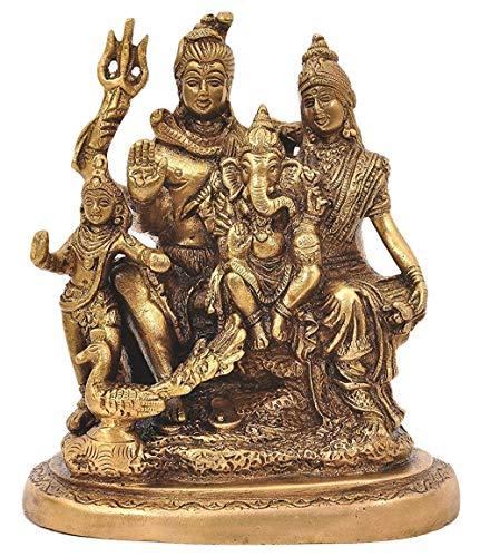 Modfash Brass Lord Shiva Parvati and Ganesha Murti Shiv Family Parivar Idol Estatua para decoración del hogar Mandir Temple Regalo Showpiece 15,8 cm de altura