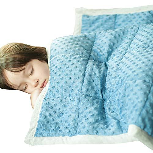 Daverose Beschwerte Decke 3.2 KG für Kinder, 97x158cm Gewichtsdecke Kinder, Gewicht Decke Blau&Hellgrau