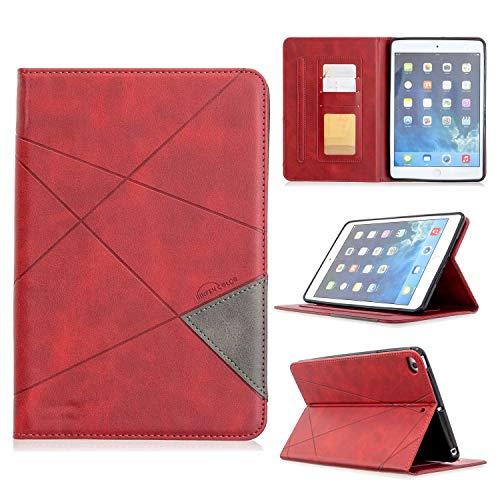 """Miagon Smart Hülle für iPad Mini 5/4/3/2/1 {7.9""""},Pu Leder Geschäft Retro Schutzhülle Case Cover mit Auto Schlaf/Wach Kartensteckplatz Ständer Funktion,Rot"""