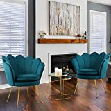 LUE BONA Accent Chair Modern Set of 2, Teal Velvet Accent Chair with Gold Legs, Mid Century Accent Vanity Chair 18' H, 320LBS, Small Comfy Upholstered Chair for Bedroom Clearance, Living Room, Office