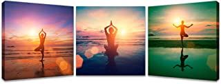 iKNOW FOTO 3 Pieces Canvas Prints Young Woman Practicing Yoga on The Beach at Sunset with Reflection in Water Seaside Painting Do Excerise Pictures Printed on Canvas Wall Art for Home Decoration