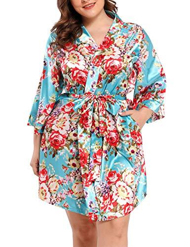 Damen Morgenmantel Kimono Satin Kurz Große Größen Nachtwäsche Bademantel Robe Schlafanzug Mit Blumen Blauer See 5XL
