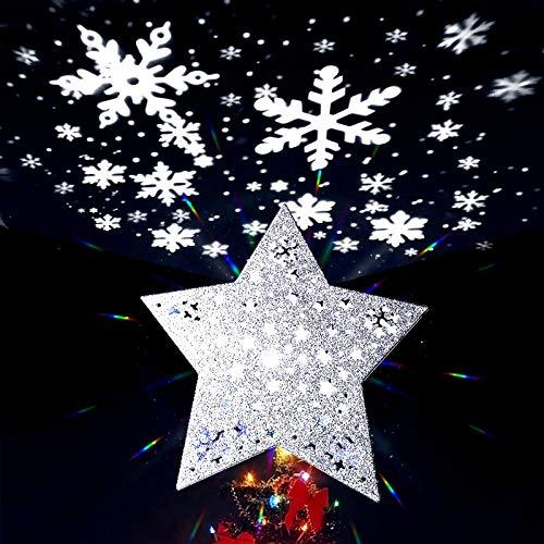 MAOYUE Christmas Tree Topper Snowflake Tree Topper Star Tree Topper with Snowflake Projector Lighted Christmas Tree Topper for White Christmas Tree Decorations, Snowflake Decorations, Silver