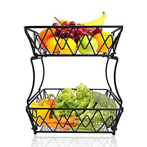 TQUS 2 Tier Fruit Basket Metal Wire Bread Basket Detachable Fruit Display Stand Storage & Organizer Kitchen Fruit Holder For Fruits Breads Vegetables Snacks, Screws Free