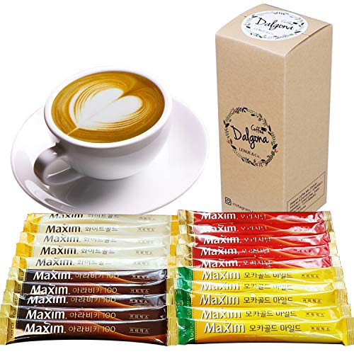 Korean 3 in 1 Instant Coffee Variety Sample Packets with Gift Box Set, Camping Essentials, Maxim Instant Coffee Mix Combination 20 Sticks