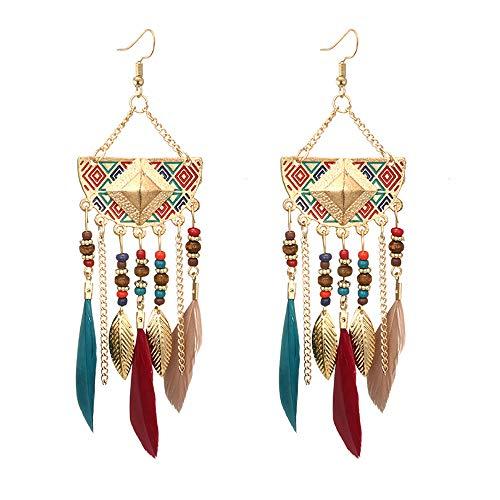 LSAltd Frauen böhmischen fächerförmigen Perlen Quaste Feder Ohrringe