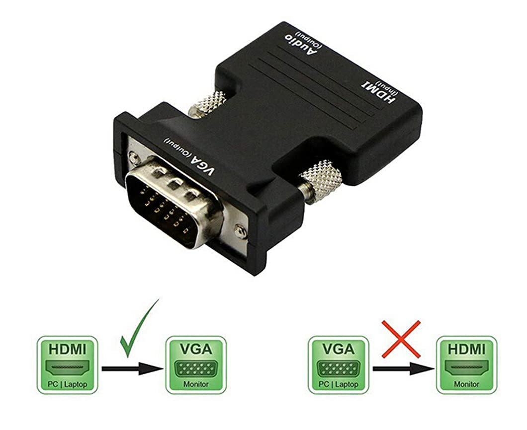 HDMI to VGA Converter with Audio, HDMI Female to VGA Male Adapter with 3.5mm Audio Cord 1080P Active Video Converter Support Notebook PC DVD Player Laptop TV Projector Monitor (Black) ztvkbyl64