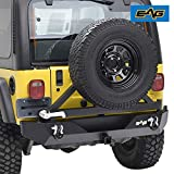 EAG Steel Rear Bumper with Tire Carrier Fit for 87-06 Wrangler TJ YJ