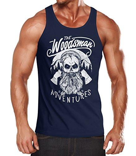 Neverless Herren Tank Top Lumberjack Woodsman Hipster Bart Skull Totenkopf Muskelshirt Achselshirt Navy M