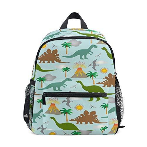 Mini-Kinderrucksack, Tagesrucksack, Muster, Dinosaurier, Vulkan, Sonnenbaum, Vorschule, Kindergarten, Kleinkindtasche für Reisen, Mädchen und Jungen