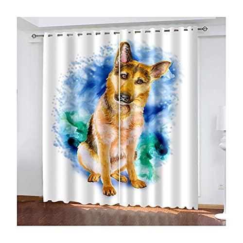 Daesar Cortina Opaca Dormitorio,Perro,Cortina de Salon Poliester Blanco Marrón Azul Cortinas para Habitacion 264x214CM