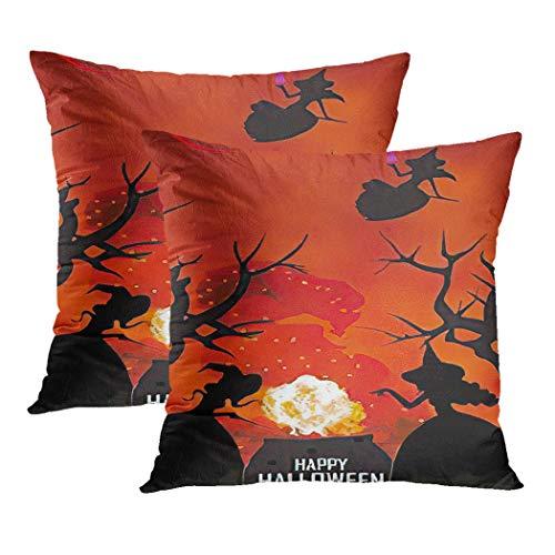 Y·JIANG Halloween Pumpkin Cushion Cover, Happy Halloween Witches Flaming Cauldron Black Calligraphy Cartoon Devil Soft Velvet Cushion Case Couch Cover Pillowcase for Sofa Chair, 20' x 20', 2PCS