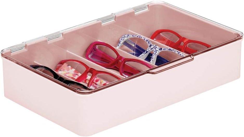 mDesign Aufbewahrungsbox aus Kunststoff Scharnierdeckel Zubeh/ör rechteckig f/ür Sonnenbrillen stapelbar 3 St/ück 5 Abschnitte modische Augenkleidung Lesebrillen transparent