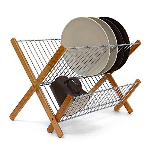 Relaxdays Abtropfgestell CROSS HBT 27 x 38 x 29 cm Abtropfgitter Bambus klappbar Geschirrabtropfer für Teller und Tassen als Geschirr Abtropfkorb und Holz Geschirrkorb mit Bestecksammler, natur
