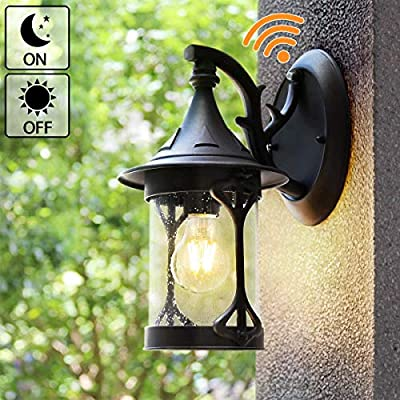 Outdoor Sconces House Light Wall Mount, Dusk to Dawn Outdoor Light Lantern Wall Light with E26 6W Led Light Bulb, Anti-Rust Seeded Glass Waterproof Black Lamp for Garden,Porch(NOT Solar/Motion Type)