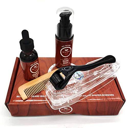 Bart Shampoo Bartöl Mikronadel Roller Holzkamm Vierteiliges Set Bartpflege Wachstumsset Reinigen und pflegen Sie Ihren Bart und Ihre Haut gründlich weich und glänzend stark