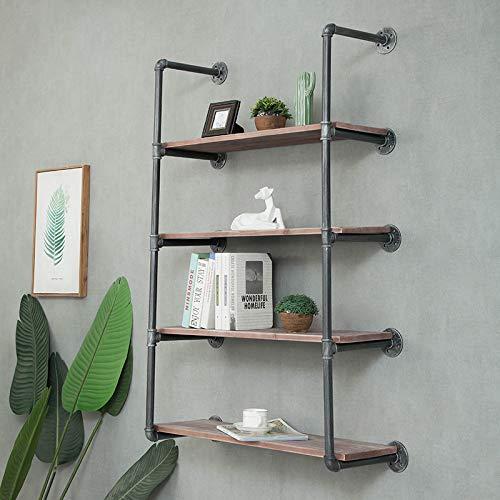 WGX Design For You Industrial Retro Wall Mount Iron Pipe Shelf DIY Storage Shelving Bookshelf 4 ShelvesIncluded Planks
