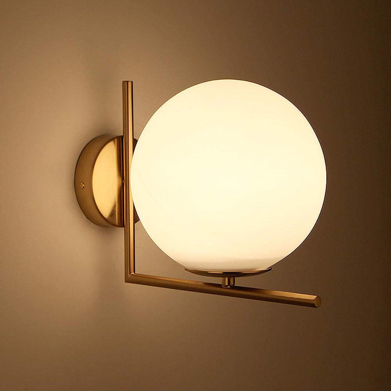 Runde Glaswandlampe moderne Schlafzimmer Nachtwandlampe milchweie Glaswandlampe