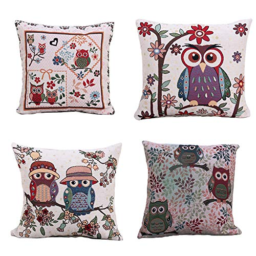 AE Set of 4 Owl Flax Linen Cushion Cover for home and Office Decorative Sofa Pillow Cover 45cm x 45cm 18inches set of 4pcs