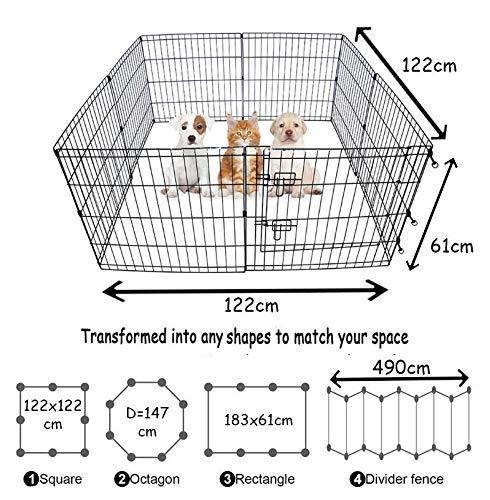 BUNNY BUSINESS Gehege für Kaninchen/Meerschweinchen/Hunde/Katzen, 8 Zaunelemente, klein, silberfarben - 4